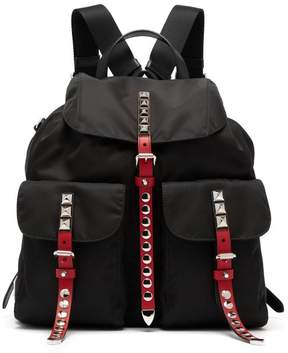 Prada Stud Embellished Nylon Backpack - Womens - Black Multi