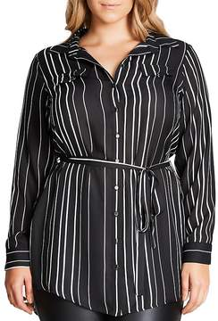 City Chic Long Sleeve Striped Tunic