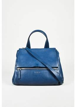 Givenchy Pre-owned Blue Grained Calf Leather medium Pandora Pure Shoulder Bag.