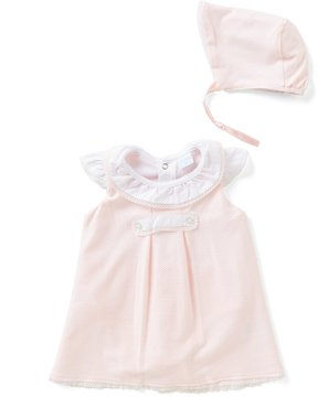 Edgehill Collection Baby Girls Newborn-6 Months Abigail Dress & Bonnet Set