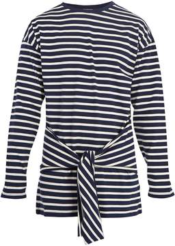 J.W.Anderson Tie-waist striped cotton T-shirt