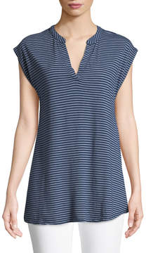 Allen Allen Striped Split-Neck Boxy Tee