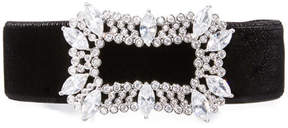 Fallon Toria Velvet Crystal-Buckle Choker Necklace, Black