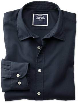 Charles Tyrwhitt Classic Fit Washed Dark Navy Honeycomb Textured Cotton Casual Shirt Single Cuff Size Large