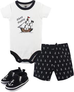 Hudson Baby White Pirate Bodysuit Set - Newborn & Infant
