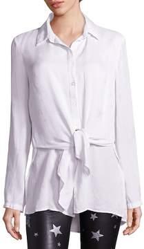 RtA Women's Tie-Front Silk Shirt