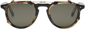 Garrett Leight Black and Tortoiseshell Clip-On Hampton Glasses