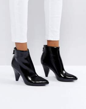 New Look Black Patent Cone Heel Pointed Ankle Boot