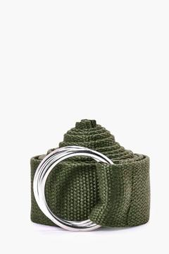 boohoo Khaki XL Canvas Ring Fasten Belt