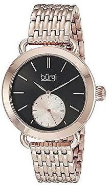 Burgi Black Dial Ladies Rose Gold Tone Watch