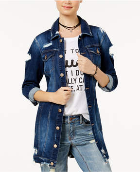 Dollhouse Juniors' Long Ripped Denim Jacket