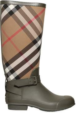 Check Canvas & Rubber Rain Boots