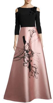 Theia Floral Cold-Shoulder Crepe & Taffeta Evening Gown, Black/Blush