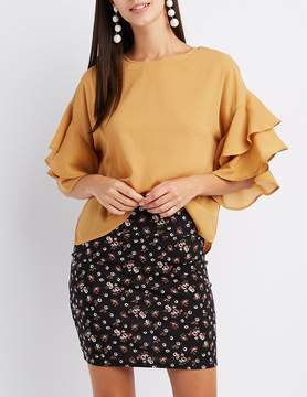 Charlotte Russe Ruffle-Trim Keyhole Top
