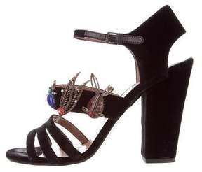 Laurence Dacade Embellished Velvet Sandals