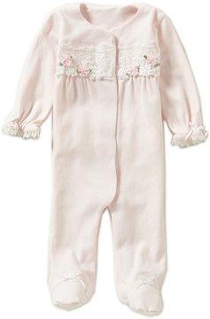 Edgehill Collection Baby Girls Newborn-6 Months Rosette Coverall