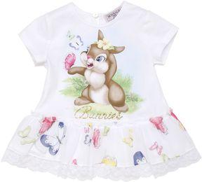 MonnaLisa Bunny Print Cotton Jersey & Crepe Dress