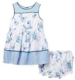 Laura Ashley Blue Floral Stripe Dress (Baby Girls 12-24M)