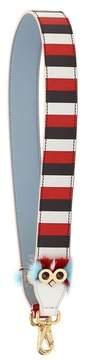 Fendi Strap You Striped Leather Guitar Bag Strap With Genuine Mink Fur Trim - None