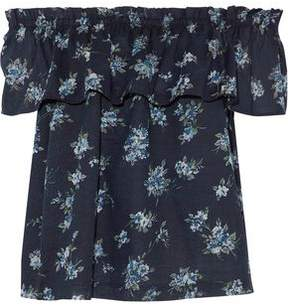 Current/Elliott Off-The-Shoulder Ruffled Floral-Print Cotton-Broadcloth Top