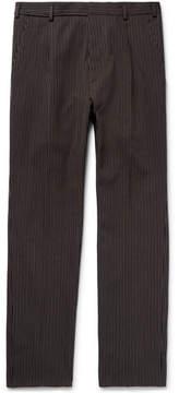 Bottega Veneta Slim-Fit Pleated Striped Cotton And Wool-Blend Trousers