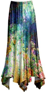 Lily Blue & Gold Floral Handkerchief Maxi Skirt - Women & Plus