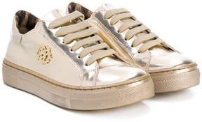 Roberto Cavalli metallic lace-up sneakers
