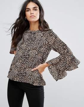 Brave Soul Leopard Fluted Sleeve Top