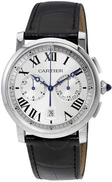 Cartier Rotonde Automatic Chronograph Silver Dial Black Leather Men's Watch