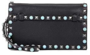 Valentino Embellished leather clutch bag