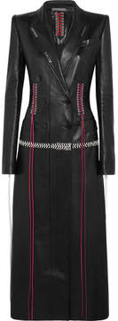 Alexander McQueen Whipstitched Double-breasted Leather Coat - Black