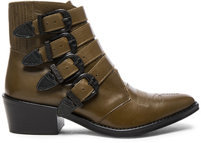 Toga Pulla Limited Edition Leather Buckle Booties in Green,Brown.