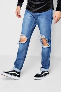 boohoo Mid Blue Ripped Knee Slim Fit Jeans