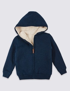 Marks and Spencer Pure Cotton Hooded Cardigan (3 Months - 5 Years)