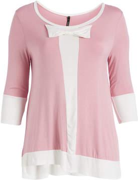 Celeste Pink & Ivory Contrast Bow Tunic - Plus