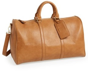 Sole Society 'Cassidy' Faux Leather Duffel Bag - Brown