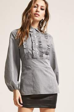 Forever 21 Gingham Ruffle-Front Shirt