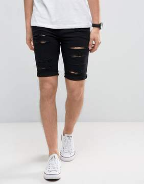 New Look Skinny Denim Shorts With Extreme Rips In Black Wash