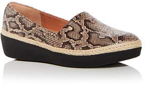 FitFlop Women's Casa Snake Embossed Leather Wedge Platform Loafers