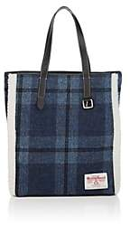 J.W.Anderson Women's Shearling-Trimmed Plaid Wool Tote Bag - Navy