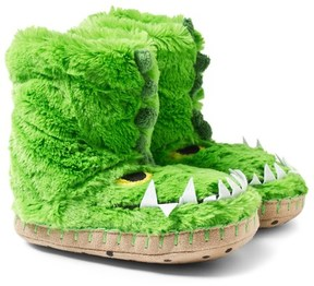 Hatley Fuzzy Alligator Face Slippers
