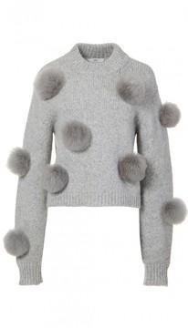 Tibi Alpaca Pom Pom Cropped Sweater