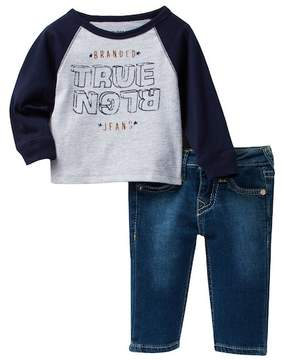 True Religion Burned Out Jersey & Jean 2-Piece Set (Baby Boys)