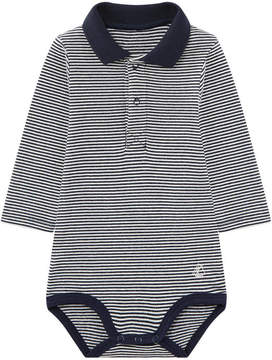 Petit Bateau Striped onesies with a collar