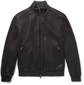 Ermenegildo Zegna Reversible Perforated Leather And Shell Bomber Jacket