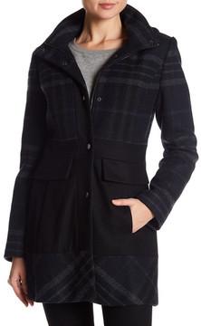 GUESS Plaid Hooded Wool Blend Coat