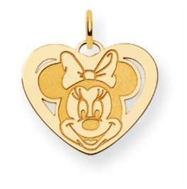 Disney Disney's 14k Yellow Gold Minnie Mouse, Heart Charm
