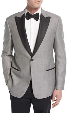 Armani Collezioni Textured Peak-Lapel Dinner Jacket, Black/White