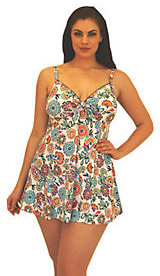 Fit 4 U Thighs Pop Floral Sweetheart Tie Swim Dress