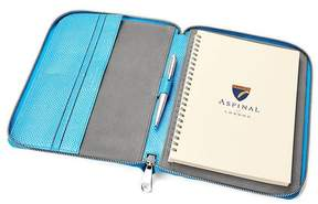 Aspinal of London A5 Zipped Padfolio In Aquamarine Lizard Silver Suede